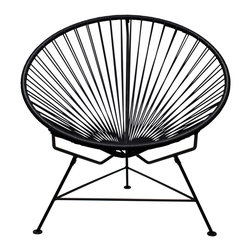 Sunburst Hoop Modern Lounge Chair in Black - Sit back and melt into this hoop-shaped, sunburst-woven modern lounge chair, complete with UV-resistant vinyl cord for breathability and support and a rust-resistant galvanized steel frame with a semi-textured polyester powder coat. The chair comes with a tripod base, and it's weatherproof and easy to clean. Use this chair inside or outside�it will be sure to add a burst of motion wherever it goes.