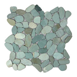 CNK Tile - Sliced Sea Green Pebble Tile - Each pebble is carefully selected and hand-sorted according to color, size and shape in order to ensure the highest quality pebble tile available.  The stones are attached to a sturdy mesh backing using non-toxic, environmentally safe glue.  Because of the unique pattern in which our tile is created they fit together seamlessly when installed so you can't tell where one tile ends and the next begins! Usage: