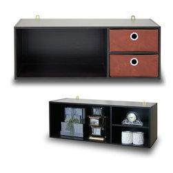 Furinno - Furinno 10005EX/BR Wall-mounted Storage - Furinno EX Home Living Sets comprises of Coffee table, end table, TV entertainment stands, wall mounted storage and storage cabinets. The home living set comes in espresso with brown non-woven bins - . These models are designed to fit in your space, style and fit on your budget.  The main material,  Particleboard, is made from recycled materials of rubber trees, eco-friendly. All the materials are manufactured in Malaysia and comply with the green rules of production. There is no foul smell, durable and the material is the most stable amongst the particleboards. A simple attitude towards lifestyle is reflected directly on the design of Furinno Furniture, creating a trend of simply nature. All the products are produced and packed 100-percent in Malaysia with 90% - 95% recycled materials.