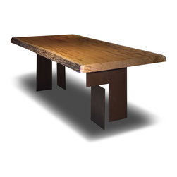 Helena Dining Table - Made with a single live edge slab of reclaimed Peroba wood and corten steel base on a weathered metal finish. Raw edge wood slab options Walnut, Vinhatico, Tamburiuva, Jatoba, and Mango.