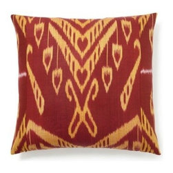 5 Surry Lane - Red Yellow Silk Ikat Pillow - Woven by artisans in Uzbekistan, this red and yellow silk ikat pillow will create a dramatic look in your favorite space. Add it to your chair or bed for a pop of warm color. Same ikat pattern on front and back. Hidden zipper closure with a down/feather insert.