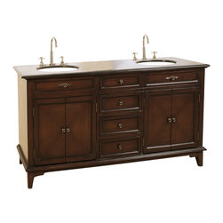 Legion Furniture - Double Vanity in Deep Chestnut Finish w Countertop & 2 Sinks - Traditional with a simple, timeless design, this classic double vanity will be an appealing addition to your master bath. Featuring two sinks and generous storage with both cabinets and drawers, the vanity is topped by a granite counter and is finished in a deep chestnut stain. Faucet not included. Vanity features counter top, sink and cabinet. Warranty: 1 year parts only. Made from wood and MDF. No assembly required. 68 in. W x 21 in. D x 35 in. H (258.5 lbs.)Straight line with rich color, this vanity definitely brings you the attention to your bathroom.