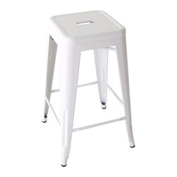 Kathy Kuo Home - Bouchon French Industrial White Backless Cafe Bar Stool - Set of 4 - This iconic industrial metal cafe counter stool, constructed of white painted glossy steel, captures the utility and flexible use that makes loft style so smart.  Used indoors or out, the classic lines and cheerful white paint make it just the type you want to see pulling up to the bar.