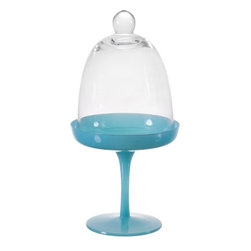 """Home Essentials - Small Blue Cupcake Stand with Glass Dome - The Small Glass Pastry Stand preserves your most impressive confections with a whimsical domed glass lid that conceals but reveals what's to come. Its playful blue color and round dome structure of the lid provide ample space for decorative icing or sprinkles. Display a colorful cupcake piled high with frosting and sprinkles with this compact glass cupcake stand.     * Dimensions: 5""""D x 10""""H"""