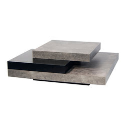 """Temahome - Slate 35 X 35"""" Coffee Table, Concrete / Pure Black - An impressive piece, Slate presents a proud figure in any occasion. The many levels of this original coffee table are a smart solution to organize your remotes, magazines and other small objects in your living room, while adding a certain movement to its shape.."""