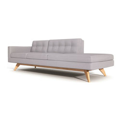 """TrueModern - Luna 94"""" One Arm Sofa with Chaise in Calvin Ivory Cotton Blend Fabric - Designed by Edgar Blazona for TrueModern, beautifully simple shape is upholstered with a comfortable and durable 100% polyester fabric. Button tufting on the back cushions gives the sofa a retro feel. Removable back and bottom cushions sit atop an upholstered well-tailored deck. *Seat Height: 18.5"""""""