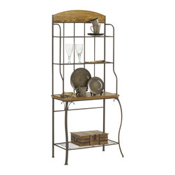 Hillsdale - Hillsdale Lakeview Bakers Rack - Wood - Hillsdale - Bakers Racks - 4264851 - Boasting a striking fusion of medium oak wood and coppery brown metal the Lakeview Baker's rack is both attractive and functional. Ample storage space is provided by four shelves. The largest shelf has is wood and corresponds with the wood accents at the top of this handsome piece. Composed of heavy gauge tubular steel solid wood and climate controlled wood composites and veneers.