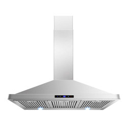 "AKDY - AKDY AG-ZBI36S Euro Stainless Steel Wall Mount Range Hood, 36"" - This 36 in. wall mount range hood not only provides excellent performance, but looks great as well. It features a powerful 760-CFM motor and has three fan-speed settings and 6 in. round duct to work perfectly with your needs. The dishwasher-safe baffle filter is a breeze to clean up, and optional recirculating and chimney extension kits are available."