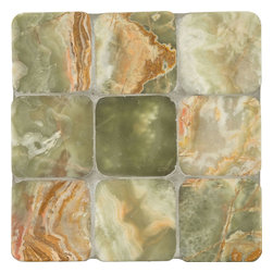"Marbleville - Green Onyx 4"" x 4"" Polished Square Pattern Marble Mosaic Tile - Premium Grade Green Onyx 4"" x 4"" Tumbled Mesh-Mounted Marble Mosaic is a splendid Tile to add to your decor. Its aesthetically pleasing look can add great value to the any ambience. This Mosaic Tile is constructed from durable, selected natural stone Marble material. The tile is manufactured to a high standard, each tile is hand selected to ensure quality. It is perfect for any interior/exterior projects such as kitchen backsplash, bathroom flooring, shower surround, countertop, dining room, entryway, corridor, balcony, spa, pool, fountain, etc."