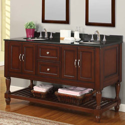 "J & J International - 60"" Espresso Mission Turnleg Double Vanity Sink Cabinet with Black Granite Top - 60"" Mission Style Double Bathroom Vanity Sink Console with Black Granite Top and Espresso Finish perfectly combines contemporary and traditional styles for your bathroom. We've added turn legs to our exclusive mission double vanity console for a more traditional style. The rich espresso finish wood vanity cabinet features two double-door cabinets with Satin nickel footed cabinet pulls located on both sides under double vanity white porcelain drop sinks and is made of birch. Two center functional drawers with matching Satin nickel knobs are built with dove-tailed drawer joinery. Additional storage space for bath towels and accessories on the open bottom plank shelf also is included in this double vanity cabinet set. All cabinet frames, door frames, shelf legs are constructed of solid birch wood. The vanity cabinet drawers are solid wood (front, back and sides) with dove-tailed joinery. New higher vanity cabinet height reduces unnecessary back strain and provides easy comfort. Mission double vanity includes the cabinet, the marble top, and undermount white porcelain sinks. Vanity mirror sold separately.; Solid birch wood frame, legs, door/drawer frames, planks, drawer box (dove tailed on soft closing glides). MDF inset for back, sides of cabinet. All doors on soft closing mechanism.; Black Granite nominal 3/4""; Undermount white porcelain t. Stone cut out 15"" by 12"".; Predrilled 3 holes 8"" spread; 31"" drain to drain, 24-26"" above the floor; 2 sets of doors, 2 drawers; Dimensions: 60"" x 23"" x 36"""