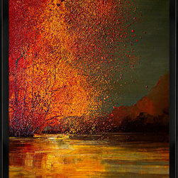 overstockArt.com - Kopania - Autumn - Autumn is a beautiful image of trees, river and landscape during fall when nature changes its colors from green tu red, yellow and brown. This canvas print will bring colors and beauty to every room. Justyna Kopania is from Warszawa, Poland. In her words when she paints she tries to show the 'world', which could be seen by looking at reality that surrounds us, from another perspective, unusual, remote, sometimes through the eyes of the child, sometimes music, composer, or someone who looks lichen on the sea, the moon , the sky and the stars ..., the river ... looks out the window and looks out into the street. Walking down the street looking at people's faces. In rain, snow or fog. Perhaps the world that surrounds us really is quite different than we perceive it every day.