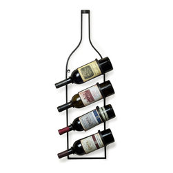Danya B. - 4 Bottle Wall Wine Rack - Perfectly combining style and structure, this durable and rustic iron wine rack will add just the right bit of storage and whimsy to your wall. Use it to attractively display four of your favorite wine bottles in your kitchen or dining room.