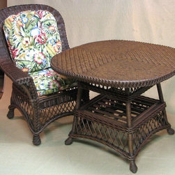 Spice Island Wicker - 3 Pc Wicker Dinette Set (Freeport Summer - All Weather) - Fabric: Freeport Summer (All Weather)Create the perfect cozy corner with this dinette set.  Quality constructed for everyday use, the table and four chairs feature all the classic and best qualities of wicker styling.  Generously sized seating offers comfort cushioning and choice of fabric colors and patterns.  Masterfully crafted out of quality wicker in an exquisitely beautiful style made to be both luxuriously relaxing and gorgeously appealing to even the most discerning critic's eye, this five-piece set includes a beautiful wicker topped table and four exquisitely crafted armchairs, built to make your dining experience a dream come true. * Includes 2 Wicker Dining Chairs & Wicker Dining Table. Image shown w one chair. Brownwash finish. Table: 48 in. Diameter x 28 in. H. Chairs: 30 in. W x 30 in. x 41 in. H
