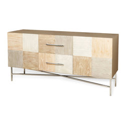 Kathy Kuo Home - Meda Patchwork Light Wood Modern Silver Sideboard - Contrasting textures and tones is one of the most relied upon techniques employed by designers and decorators the world over.  When done with wood, like in the case of this beautiful contrast panel buffet, the effect can be simply stunning. Touching upon Scandinavian minimalism and carpentry, this contemporary classic offers serious function along with noteworthy good looks.