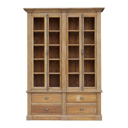 Kathy Kuo Home - Marcus French Country Reclaimed Wood Large Bookcase - Over the years you've accumulated tomes and treasures that deserve classically stylish storage. This large pine bookcase boasts glass doors, handsome hardware and enough drawer and shelf space to house an embarrassment of riches.