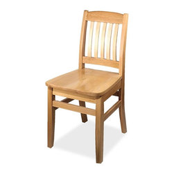 KFI Seating - Solid Wood Restaurant Chair - Set of 2 - Set of 2 restaurant chair. Made of 100% beechwood and stained in an oak finish. The frame has 4 stretcher bars for added strength and the seat is contoured for comfort. Seat Height: 18.5 inches. 18 in. W x 19 in. D x 35 in. H. Weight bearing capacity: 400 lbs. No assembly required