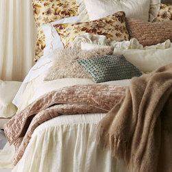 """Pine Cone Hill - Pine Cone Hill Full/Queen Matte Velvet Quilt, 96"""" x 92"""" - What we love about """"Savannah"""" is that these gauzy linens work with any style of bedding in any room. Here, we rev up the luxury with """"Landon"""" floral shams and matte velvet quilts. Imported by Pine Cone Hill®. Machine wash. """"Savannah"""" linens, made...."""