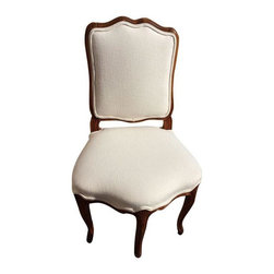 Pre-owned French Provincial 5-Legged Chair - What's got five legs and is brown and white all over? This French Provincial chair, of course! This beautiful piece is a rare find and is sure to compliment a variety of spaces. We love the rich brown wood frame, and of course that fifth leg up front. Overall, it's in excellent vintage condition.