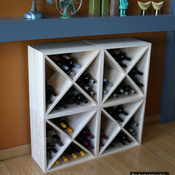 "96 Bottle Pine Wine Rack Cube Set (4 Cubes) - Four 12"" deep (full bottle depth) pine wine bottle cubes arranged two high."