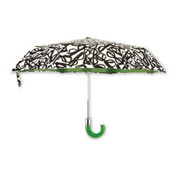Kate Spade - kate spade Travel Umbrella - Literary Glasses - Instantly brighten a gloomy day with our kate spade new york Literary Glasses Umbrella. Black and white graphics add a signature flair to this compact umbrella that easily stores away for another rainy day.