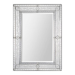 Ren-Wil - Ren-Wil MT1268 Portrait Gianna in All Glass - The Gianna is a show piece with its delicately carved accents and expert etching this venetian will add a regal touch to any room. Center mirror is beveled.