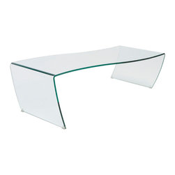 Eurostyle - Eurostyle Orfea Rectangular Clear Glass Coffee Table - Rectangular Clear Glass Coffee Table belongs to Orfea Collection by Eurostyle Flat. Square. Symmetrical. How about none of the above. That's one way to describe this original work of art. Bent glass in a free form shape is all about being subtle about being unique. Coffee Table (1)