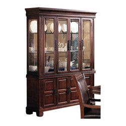 Coaster - Coaster Westminster China Cabinet in Cherry - Coaster - China Cabinets - 3638 - Functional and attractive this dining buffet and hutch will create the perfect place to store your dining room accessories and decorative items. Charming carved designs panel detail and bold hardware establishes a beautiful composition while its height adds vertical dimension to your room. The buffet features four spacious doors to provide room for table settings dining ware and table linens. The hutch includes four glass doors glass sides and shelves offering a stunning display are to showcase your best china and favorite decorative items. This sophisticated china cabinet will add elegant character to your dining room.Features: