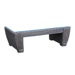 WickerParadise - All Weather Wicker Coffee Table Galveston - Create an outdoor living room with this innovative coffee table. Equipped with a smart glass cover, you can set a bounty of food and drink on top without worrying about clean up.