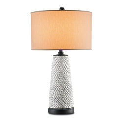 Currey & Company - Preston Large Table Lamp - Sweeping strings of turquoise beads give shape to the Preston lamp. The metal base is finished in Cupertino. Its handmade artistry ensures high quality craftsmanship. The lamp is topped by a black parchment shade.