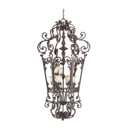Pendant Light with White Glass in Carre Bronze Finish -