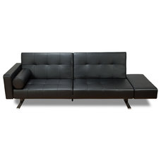 Modern Sofa Beds Marvelli Black Faux-Leather Sleeper Couch