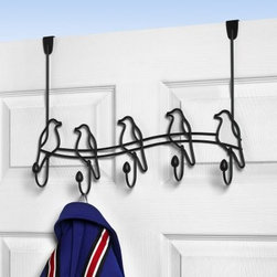 Tweet Over the Door 5 Hook Coat Rack - Liven up your space with the adorable Tweet Over the Door 5 Hook Coat Rack. Sturdy metal construction ensures this piece will have a long strong life of keeping your coats safe. This coat rack features a perched bird outline for each of five coat hooks making this not just simply a functional piece but something altogether lovely. The over-the-door hook design will secure this piece tightly to the top of your door so there's no hardware required. Easy peasy. No assembly required. this coat rack measures 19.125W x 5D x 12.25H inches. About Spectrum Diversified DesignsSpectrum Diversified Designs based out of Cleveland Ohio operates out of a 130 000 square foot distribution center and provides services to nearly every continent on the globe. With a specialized team of experts in art design and logistics Spectrum consistently provides top-quality products that are functional attractive and cost-effective. Spectrum is dedicated to providing you with only the best in home accessories. From the kitchen to the bath and all in between you'll find exactly what you need for all of your home needs. The possibilities are endless.
