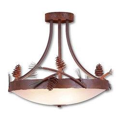 Avalanche-Ranch - Pine Cone Art: Crestline Semi Flush Ceiling Light Tall - Rustic Semi-Flush Lights with Pine Cone artwork - Takes (3) 60W Medium bulb(s)