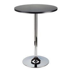 "Winsome Wood - Winsome Wood Spectrum 24 Inch Round Pub Table in Black & Chrome - 24 Inch Round Pub Table in Black & Chrome belongs to Spectrum Collection by Winsome Wood New Spectrum Pub Table is designed to match the airlift stools in this line. The table top is made of sturdy MDF material and is 24"" in diameter. The base is chrome. The 40"" height is perfect for entertaining and casual dining. Ships ready to assemble with tools and hardware. Pub Table (1)"