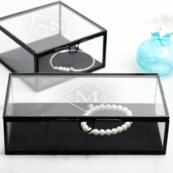 Grandin Road - Personalized Antique Glass Shadow Jewelry Box - Personalized glass boxes are the perfect place for storing jewelry and keepsakes. Crafted from glass with antiqued metal trim, finished with a black velvet lining in the bottom. Engraving with a diamond-shaped monogram included; style of engraving as shown (First name initial, Last name initial, and Middle initial). Select from two shapes: Square or Rectangular. Display your baubles in a sophisticated glass shadowbox that's made just for you, or order one as a meaningful gift. Each is crafted from glass trimmed in antiqued metal and features a hinged lid with an easy-lift tab and a removable velvet lining. Select from two styles and add a classic diamond-shaped monogram; personalization is included.. . . . Personalized items are not returnable.