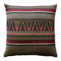 Pillow Decor - Pillow Decor - Kilim Stripes 19 x 19 Tapestry Throw Pillow - Simple yet unmistakably Kilim, this pillow is perfect for anyone that loves Kilim designs but wants a cleaner less busy look. The fabric is sturdy and the texture is authentically coarse, giving the pillow a rustic and old world feel.