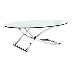 Modway - Criss Cross Glass Chrome Oval Coffee Table - Update the look of your living room with this glass and chrome oval coffee table. The minimalist design of this table will beautifully complement your modern decor. This table features curved chrome legs for stability and durability.