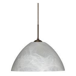 Besa Lighting - Besa Lighting 1JT-420152 Tessa 1 Light Cord-Hung Pendant - Tessa has a classical bell shape that complements aesthetic, while also built for optimal illumination. Our Marble glass is a pressed glass that features swirls of white throughout semi-translucent frost, to create a faux alabaster appearance. When lit this gives off a light that is functional and soothing. The smooth satin finish on the clear outer layer is a result of an extensive etching process. This handcrafted glass uses a process where every glass is consistently produced using a press mold, keeping variations to a minimum. The cord pendant fixture is equipped with a 10' SVT cordset and an low profile flat monopoint canopy.Features: