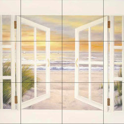 The Tile Mural Store (USA) - Tile Mural - Dr-Sunset Beach - Kitchen Backsplash Ideas - This beautiful artwork by Diane Romanello has been digitally reproduced for tiles and depicts a window box with a beach scene.  Beach scene tile murals are great as part of your kitchen backsplash tile project or your tub and shower surround bathroom tile project. Waterview images on tiles such as tiles with beach scenes and sunset scenes on tiles.  Tropical tile scenes add a unique element to your tiling project and are a great kitchen backsplash  or bathroom idea. Use one or two of our beach scene tile murals for a wall tile project in any room in your home for your wall tile project.
