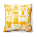 Kai Outdoor Pillow - Like a square celestial sunburst rendered in angular geometry, the repetitive patterns of the Kai Outdoor Pillow invite the eye to travel around a harmonious motif. Sunshine yellow polyester provide a canvas for the intriguing right-angled shapes inspired by and simplifying the spirals of the most recognizable Greek key design. It results in a faintly tribal look that elegantly energizes your outdoor space.