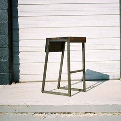 Manhattan Stool - Solid dark walnut/ mixed