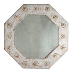Cercia Mirror - Every room needs one dramatically sized piece, add this to your room and dramatic it will be. The extremely wide octagon framed mirror is finished in whitewash with three-dimensional circlets adding whimsy and fun surrounding the frame. The Cercia Mirror is perfect for any contemporary, transitional decor and is large enough to add light and space to any room.