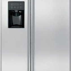 GE Monogram 24.6 cu. ft. Side-by-Side Refrigerator - Climate-Control Drawer - Allows you to express-chill beverages, express-thaw meats and select specific temperatures for perishable foods Counter-Depth - Aligns nearly flush with surrounding cabinetry In-the-Door Beverage Rack - Conveniently located inside the refrigerator door to increase flexibility and to free up valuable shelf space Integrated Ice™ System - Frees up valuable freezer space; it tilts down, providing easy access to bulk ice Advanced Temperature Management System with Multi-Shelf Air Tower - Provides even distribution of air throughout the refrigerator GE Water Filtration System - Delivers clean great-tasting water and ice through the dispenser Integrated Design - Stainless steel-wrapped Full-Extension Freezer Baskets