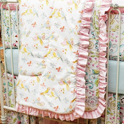 Love Birds Crib Comforter with Ruffle - I love the pastel coloring and whimsical birds on this quilt. Its box quilting and thickness mean a very snuggly and warm blankie for baby. It's a timeless piece.