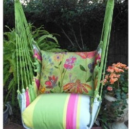 Magnolia Casual Spring Mix Hammock Chair & Pillow Set - The Magnolia Casual Spring Mix Hammock Chair & Pillow Set is just what you need to enjoy the tranquility of warm days and mellow evenings, making it the perfect choice of those who want to make the most of summer. Made of weather-, fade-, and-mildew-resistant 100% polyester Sundure fabric, this hammock chair offers the soft, natural feel of cotton, so it's way more comfy than quilted hammocks. Plus, the plush, 100% polyester-insert seat pillow and back pillow envelop you in such luxurious comfort that it will soon become your favorite spot to lounge in. The seat pillow with yellow, green, pink, and blue stripes matches the rest of the chair, while a colorful floral pattern on the back pillow adds to the set's summery feel. A matching tote bag makes it super easy to carry this hammock with you when you go on vacations. The wood spreader bar is attached to 100% polyester rope for extra sturdiness, while zippered, machine-washable pillow covers make cleaning this hammock chair a breeze.About Magnolia CasualMagnolia Casual sweeps you off your feet and into the relaxation zone by offering a wide variety of hammocks and swings, along with complementary comfortable pillows manufactured from fade- and mildew-resistant polyester that holds up well to outdoor use.Based in Pascagoula, Miss., Magnolia Casual's Sundure Fabrics are colorful, and the hammocks and swings are built for durability and years of enjoyment. The company also offers shower and hamper curtains that will brighten your home.
