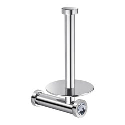 Windisch - Vertical Wall Toilet Roll Holder In Chrome Finish With White Crystal - Elegant round wall mounted vertical toilet roll holder.