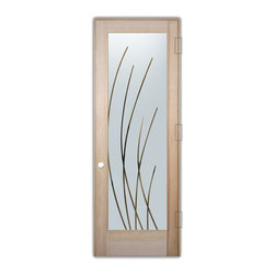 "Sans Soucie Art Glass (door frame material T.M. Cobb) - Interior Glass Door Sans Soucie Art Glass Sleek Arcs, Natural Unfinished Wood, D - Sans Soucie Art Glass Interior Door with Sandblast Etched Glass Design. GET THE PRIVACY YOU NEED WITHOUT BLOCKING LIGHT, thru beautiful works of etched glass art by Sans Soucie!  THIS GLASS IS SEMI-PRIVATE.  (Photo is View from OUTside the room.)  Door material will be unfinished, ready for paint or stain.  Satin Nickel Hinges. Available in other wood species, hinge finishes and sizes!  As book door or prehung, or even glass only!  1/8"" thick Tempered Safety Glass.  Cleaning is the same as regular clear glass. Use glass cleaner and a soft cloth."
