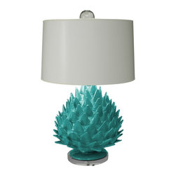 Artichoke Lamp - A huge artichoke makes a stunning lamp! Handmade of papier mech from recycled materials by artisans in Mexico. Comes with a white painted paper shade and aqua color, low VOC paints. Can take a 3 way bulb.