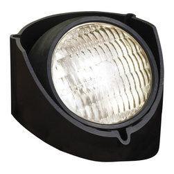 """Kichler 1-Light Well Light - Black - One light well light. This lighting outdoor well light can be installed as a semi-recessed or flush mounted fixture. The black finish is paired with a textured lens that diffuses light in the desired direction. Wiring is 42"""" of usable #18-2, spt-1-w leads. cable connector supplied with fixture. Supply wire with lugs attach directly to par 36 light bulb screw terminals."""