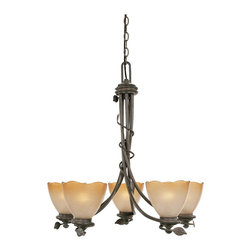 Designers Fountain - Designers Fountain 95685-OB 5-Light Chandelier - Old Bronze Finish, Sculpted Ochere Luster Glass/Shade Rustic charm with soft contemporary lines allows you to feel a sense of the outdoors.